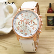 Wholesale Geneva Multi-Colors Cheap Fashion Ladies Rome Digital Rose Gold PU leather Women Watch