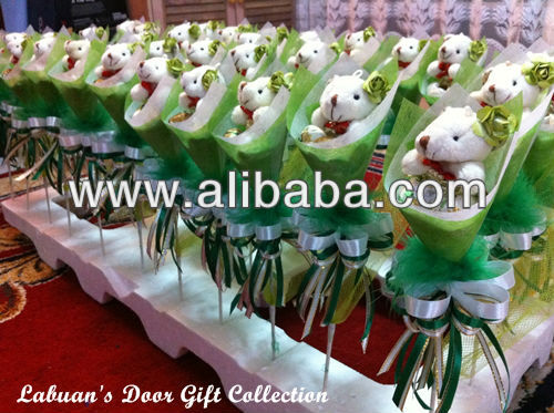 Green Teddy Bear Bouquet Party Gifts 6cmx30cm
