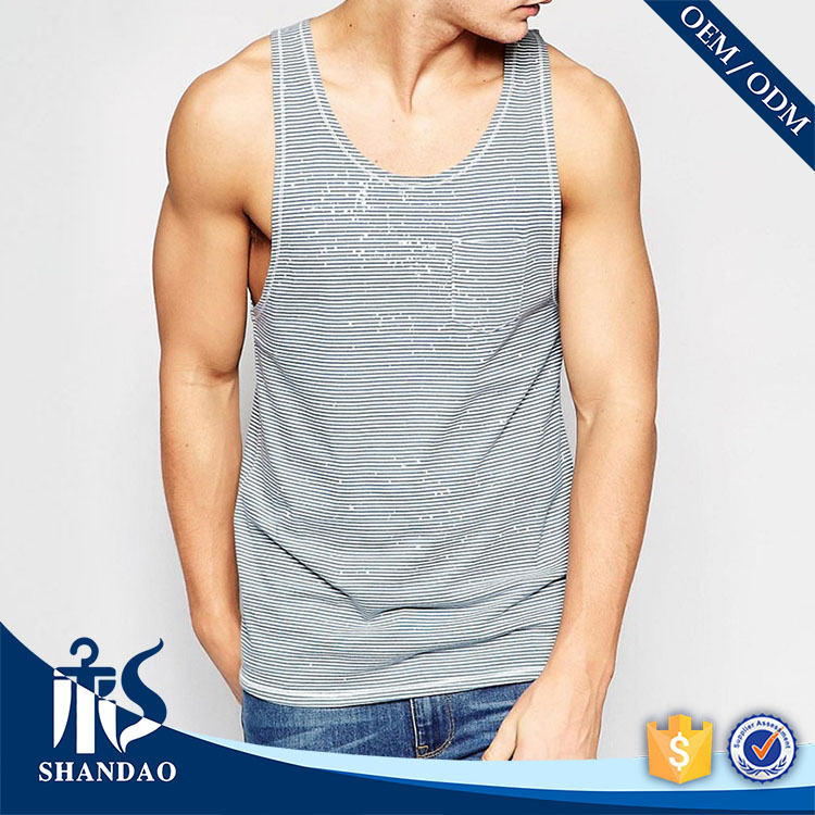 Guangzhou shandao striped yarn dyed 120g O-neck sleeveless 95% cotton 5% Spandex y back tank tops for men