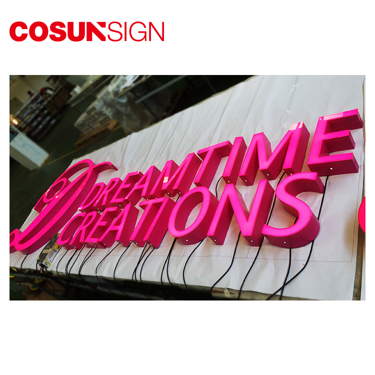 Rimless facelit led channel letter retail signs indoor/outdoor business signages