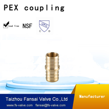 "Chinese manufacturer lead free copper cUPC forged reducing shaped 3/8""*1/2""PEX barb brass coupling adapter fitting"
