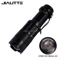 Jialitte F035 1X14500 Battery Rechargeable Black Light Torch 365nm Zoomable mini UV Flashlight