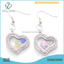 Big heart shape pink crystal floating lockets earrings with magnetic china factory price