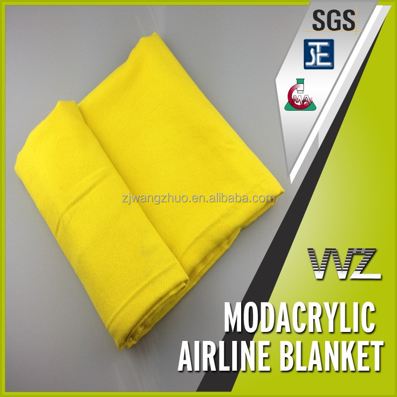 100% modacrylic flame retardant solid color yellow color twill woven airline blanket inflight blanket