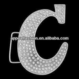 "Hip Hop Hotsale Initial Letter ""C"" Belt Buckle with Rhinestone"