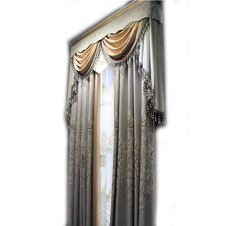 chenille fabric curtains with attached floral print valances curtains