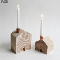 Set Of 2 Wood Candle Stick