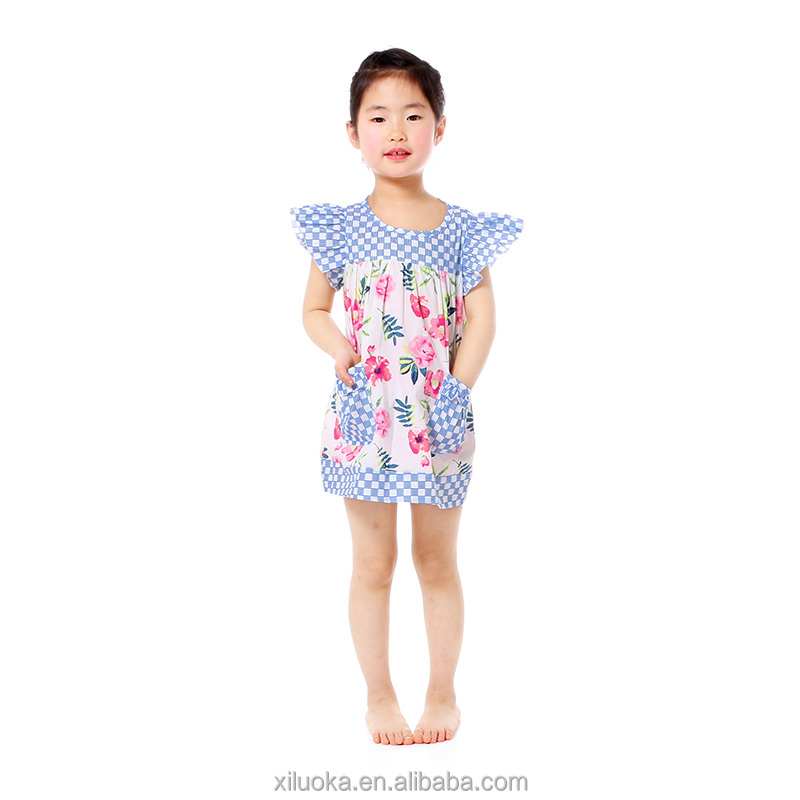 Children floral frocks designer one piece kids party dress for girls