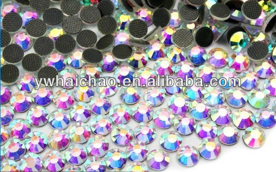 A quality crystal AB color ss16 hot fix rhinestones 4mm two cut rhinestones color hot fix stones