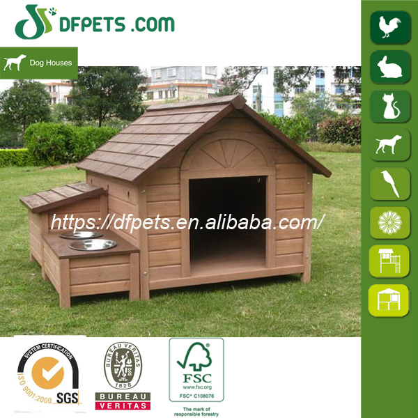 Industrial Wooden Dog House With Feeding Bowl