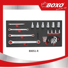 "BOXO BX051-R Hot Sale 23pcs 1/4"" & 1/2"" Dr. Star Socket & Star Wrench Hand Tool Set"