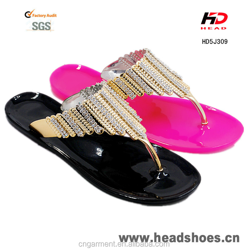 2016 New design flat jelly women fancy slippers