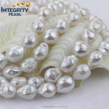 12mm fold Wrinkles white strong baroque nucleated natural edison pearl beads