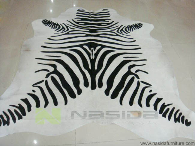 CL100 Black and white fur printing black and white zebra fur color cowhide rugs