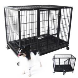 "37"" Dog Kennel w Wheels Portable Pet Puppy Carrier Crate Cage"