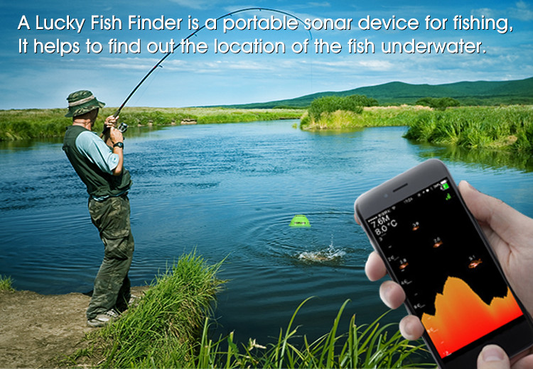 2018 WIFI 70M Fish Finder 147 Feet (45M) Fish Finder Lithium Battery IOS Android App Luckylaker FF916