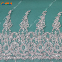 55cm Wide fancy cord embroidery lace off white lace trimming with sequin lace trim