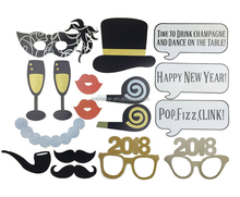 Hat Glasses Party Gift 2018 Happy New Year Photo Booth Props
