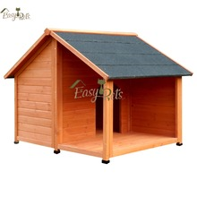 Medium outdoor handmade wooden dog crate house with porch