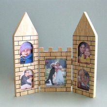 Special Gift for Kids 5 Openings Wooden Castle Collage Photo Frame