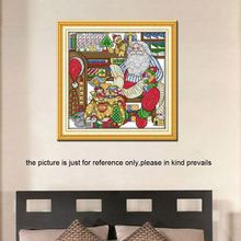 32*32cm DIY Handmade Counted Cross Stitch Needlework Set Embroidery Kit the Workroom of Santa Claus Home Decoration 14CT