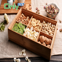 OEM available fashion bamboo food tray candy dishes with small partitions
