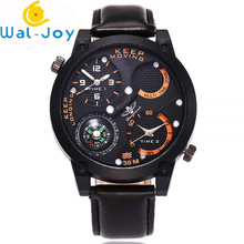 WJ-6641 Big Face Business Watch Leather Strap Man Keep Moving Double Time Double Movt Watch