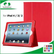 Multicolored genuine Pu leather book style folding stand cover for iPad table case for iPad 4 / 3/ 2