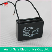 wire electric fan capacitor cbb61 370vac 7.5mf