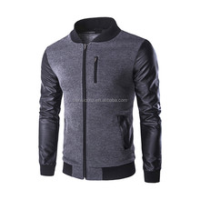 Custom pu leather joint with knit fabric men's bomber jacket