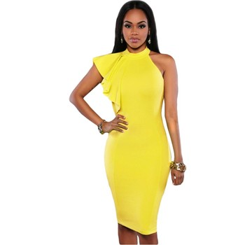 Women Pencil Bodycon Dresses With Zip Summer Yellow Black One Shoulder Ruffle Sleeve Midi Dress For Girls Vestidos Mujer V61094