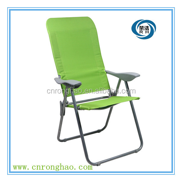 High seat folding beach lounge chair with pvc fabric