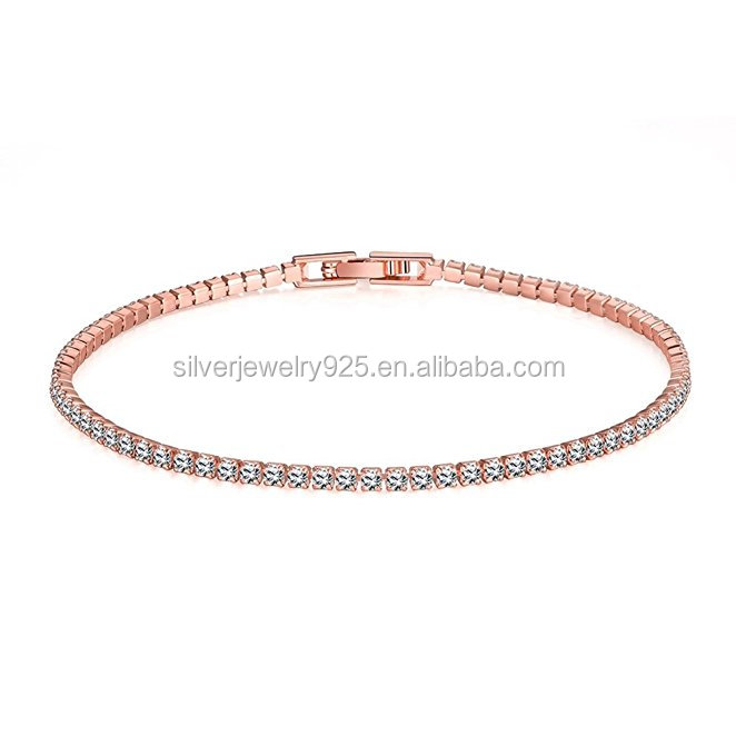 Womens Classic 18K Gold Plated Thin Cubic Zirconia Tennis Bracelets