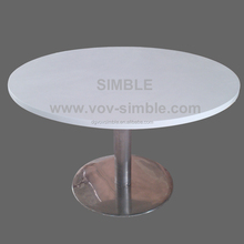 customized big round artificial stone dining table, quartz stone table tops