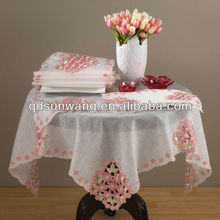 embroidered cutwork bamboo silk tablecloth round design 36x36""