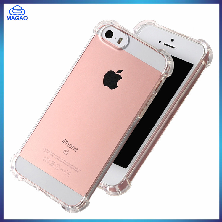 Good Quality Shockproof Air Cushion Bumper Transparent Clear Back Case For Apple Iphone 5 SE 5S