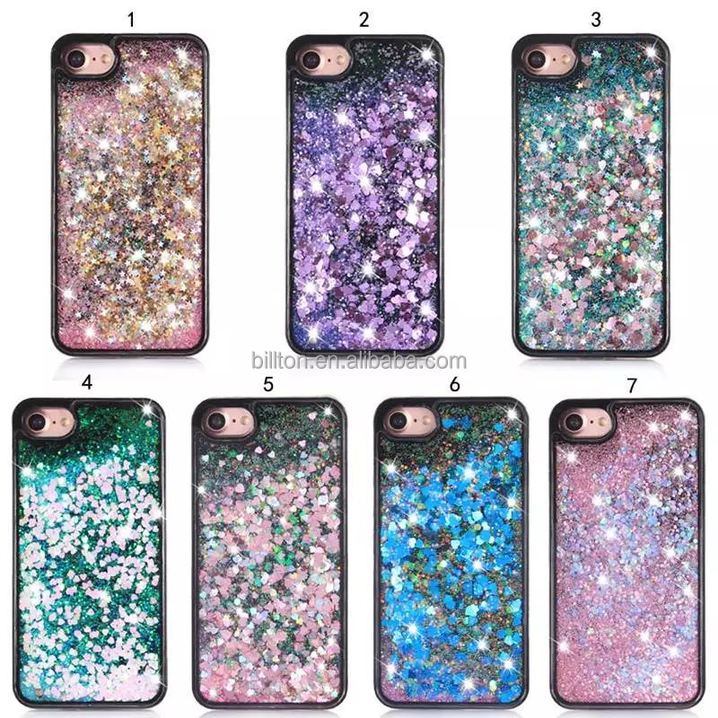 Bling bling shiny flowing liquid hard back soft edge black phone case for iPhone 5 6 6 Plus 7 7 Plus