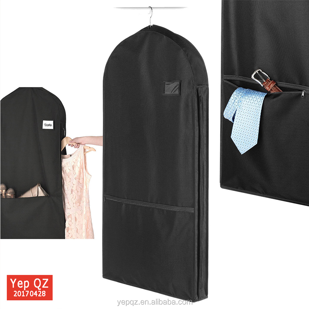 High quality hanging nylon gusset garment suit cover travel garment bag with shoe pockets