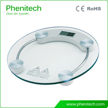 Thick Tempered Glass Electronic Personal Bathroom Weighing Scale - Round Shape