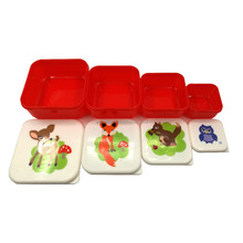Nesting Microwavable Food Storage Lunch Box Set of 4pcs Bento Container