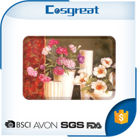 Flower decal rectangle melamine plastic tray