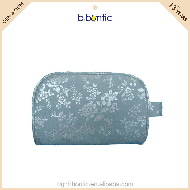 Flower leather cosmetic case with clasp for ladies