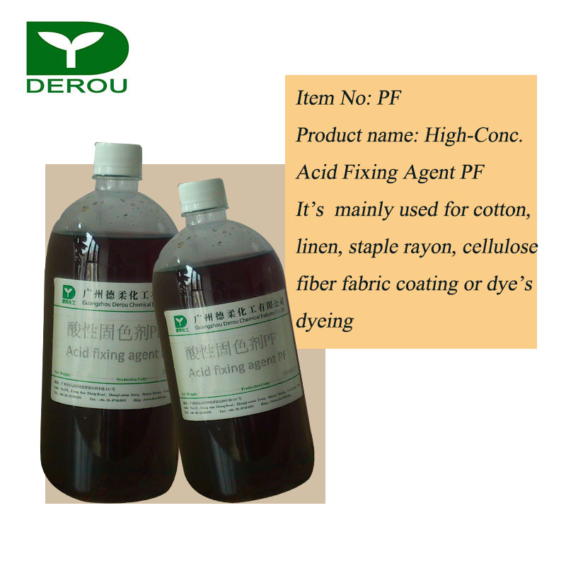 Textile Chemical High concentrated Acid Fixing Agent PF for cotton, linen, staple rayon, cellulose fiber fabric coating