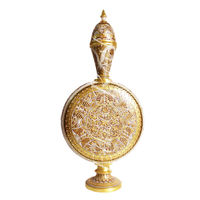 Vase engraved pearl and 23kt gold embossed as art of Mughal design on single marble stone.