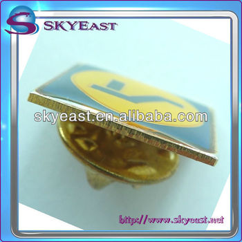 Metal pin badge with gold plating & enamel