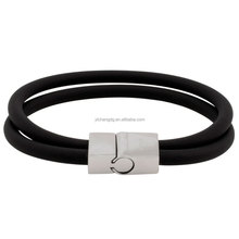 Unique Double Band Soft Rubber Bracelet with Stainless Clasp