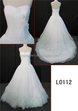 white chiffon A-line sweetheart wedding dress of lace up down in back