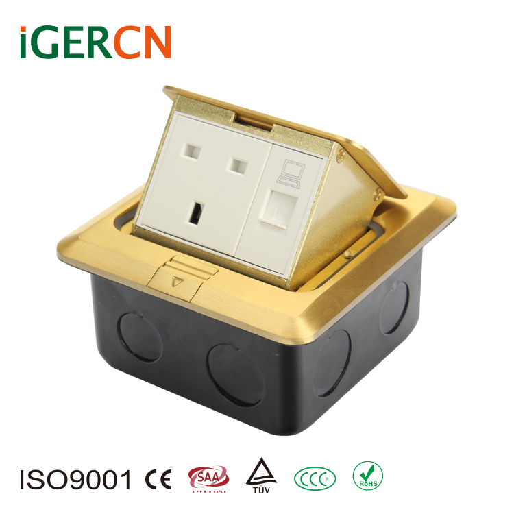 UK style copper alloy pop-up floor socket box and high quality power outlet HGD-2F