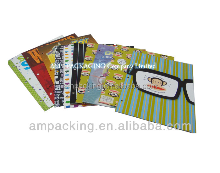 wholesale card board colorful paper file folder /gift card from DongGuan factory