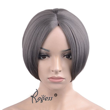 "10"" Grey Bob Short Hair Wigs for Women with No Bangs Straight Synthetic Natural Daily Wigs free shiping"